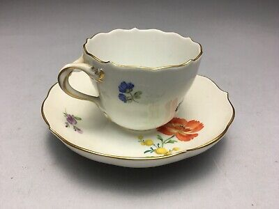 Antique Meissen German Scattered Flowers Dresden Decorated Cup & Saucer