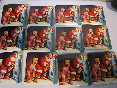 set 12 vintage Coca Cola Christmas Santa Claus advertising coasters with cork