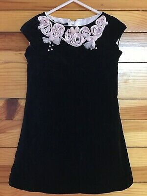 Biscotti Black Crushed Velvet Dress Girls Pink Rosettes Tulle Sequins EUC Size 4