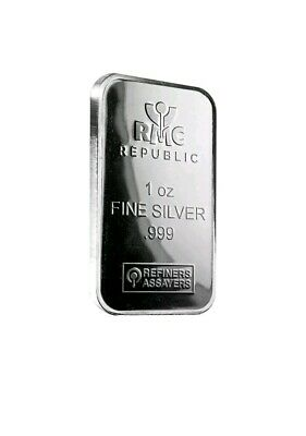 1 Oz Silver Bar - Republic Metals Corp (Rmc) .999 Fine X2