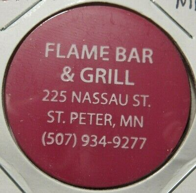 Vintage Flame Bar & Grill St. Peter, MN Red Plastic Trade Token - Minnesota