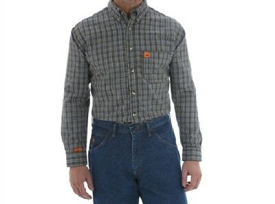 7f8269ff Wrangler Riggs Workwear Flame Resistant Fr Shirt Chocolate Plaid Xx-Large  New 2X