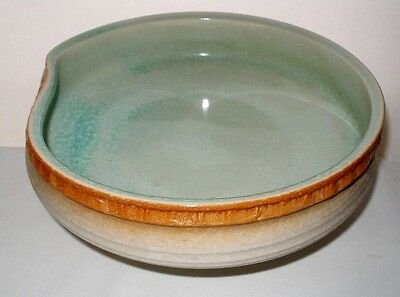MIND BLOWING Big JAPANESE Pottery FOOTED BOWL Exquisite CRACKLE DESIGNS Gorgeous