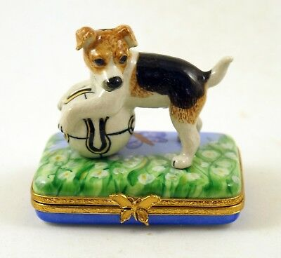 New French Limoges Trinket Box Jack Russell Terrier Dog Puppy On Lily Of Valley