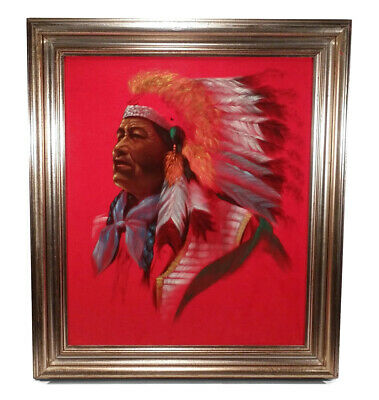 Framed Kitschy Retro Vintage Native American Indian Chief Painting On Red Velvet