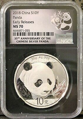 2018 10 Yuan Silver China Panda NGC MS70 35th Anniversary ER Label Retro Core