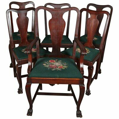 6 Antique Chippendale School Plank Splat Mahogany and Needlepoint Chairs