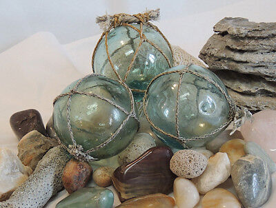 3 Vtg Japanese GLASS FISHING FLOATS Marks, Nets, Color Variations & bubbles (#34