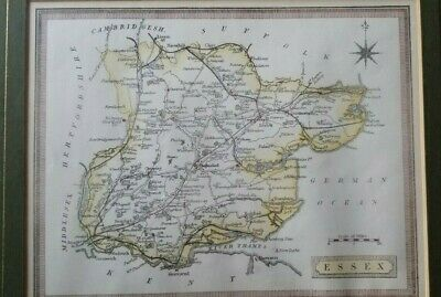 Antique ESSEX England Map Framed c1880 From Harrah's Framed/Glass