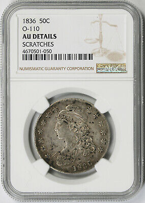 1836 O-110 Capped Bust Half Dollar Silver 50C AU Details NGC