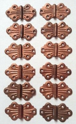 Set Of 12 Vintage Antique Steel Cabinet Cupboard Butterfly Hinges Nipped Ends