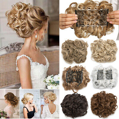 US Elastic Scrunchie Messy Bun Chignon LARGE THICK Hair Extension Curly As Human