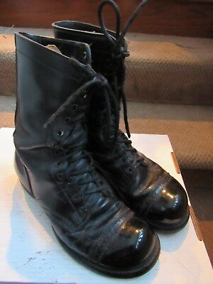 3129b4f29ce03 VTG HH DOUBLE-H Military Combat Corcoran Jump Boots Men's 8.5 E Black  Leather