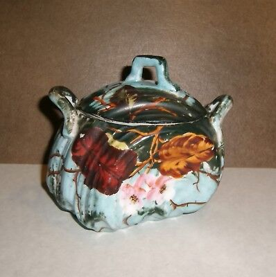 SUGAR BOWL Antique ES Covered Porcelain Hand Painted Floral Seashell 3884