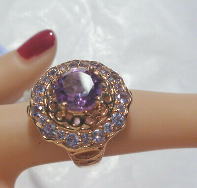 Sterling Ring W, Rose Gold Overlay Amethyst & Tanzanite Size 5.5