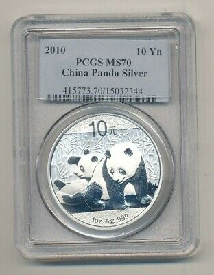2010 Silver China Panda 10 Yuan 1 oz Coin PCGS MS 70 Exact Shown