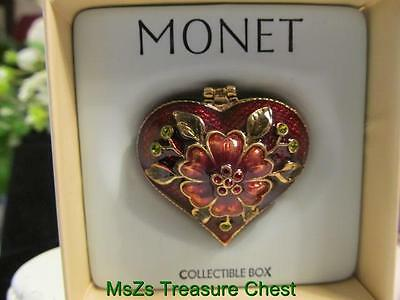 "MONET ""RED FLOWER HEART"" Collectible Enamel Keepsake Trinket Box  ** NIB **"