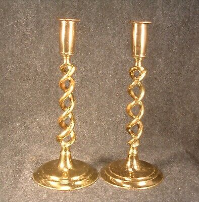 Pair of Antique Brass Made In England Barley Twist Pattern 10 Inch Candlesticks