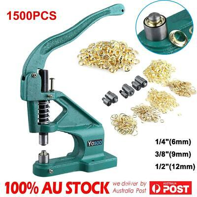 1500 Grommets Grommet Eyelet Hole Punch Machine Hand Press Tool 3 Dies 6/9/12mm