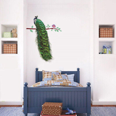 Creative Animals Peacock On Branch Feathers Wall Stickers Home Decor B