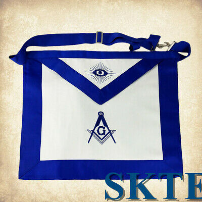 Blue Lodge Master Mason Masonic Apron White leather Blue Ribbon Border Apron