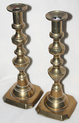 English Mid-19th Century Matching Pair Behive 10 ¾ inch Brass Candle Holders