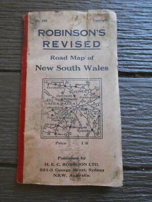 C 1927 Automobile Road Map railways Robinson New South Wales Dunlop Tyres Sydney