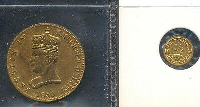 Haiti 1850 Gilt Copper 6 1/4 Centimes KM#38 Plus