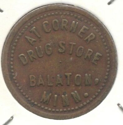 USA Civil War Brass 5 Cent Token Drug Store, Balaton Minnesota