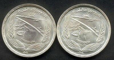 Egypt Aswan Dam 1973 Silver Pound x 2, Uncirculated