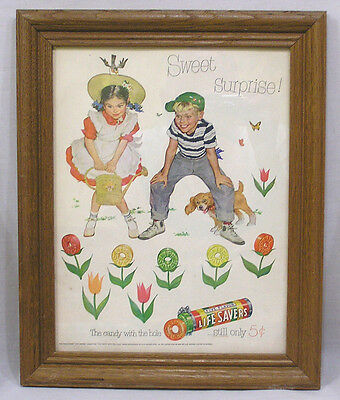 Framed Vintage Life Savers Candy Advertisement Boy Girl Candy Flowers