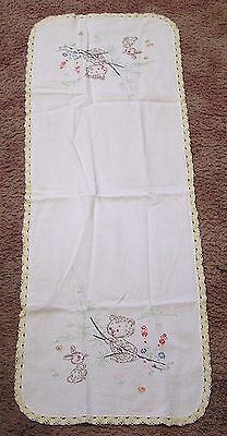 Vintage Table Runner Embroidered Bunny and Bear Cub Needlework Edging