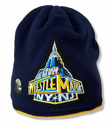 Wwe Wrestling Embroidered Wrestlemania Navy Blue Fleece Beanie Hat New Official
