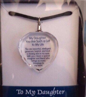 My Daughter Message Blue Mountain Crystal Pendant Necklace 17""