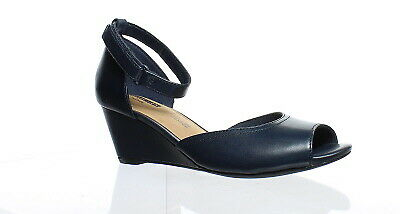 bbb86c34f46 Clarks Womens Flores Raye Navy Leather Ankle Strap Heels Size 6 (144702)