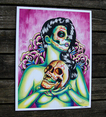 b535b9573 DAY OF THE Dead Aria Spider Sexy Mexican Sugar Skull Pinup Girl Art ...