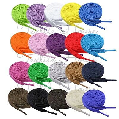 Shoe Laces Flat Coloured Shoelaces Trainers Boot Football Running Hiking Quality