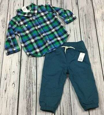 Baby Gap Boys 18-24 Month Plaid Shirt & Teal Soft Lined Pants Outfit . Nwt