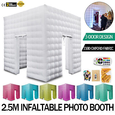 3 Doors Inflatable LED Air Pump Photo Booth Tent Portable Advertising 2.5M