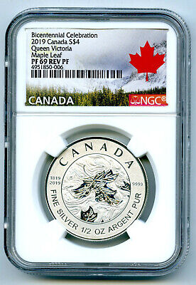 2019 $4 Canada 1/2 Oz Silver Maple Leaf Queen Victoria Ngc Pf69 Reverse Proof
