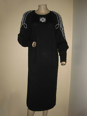 NWT Vintage 80s Black Acrylic Sweater Dress Faux Pearl Beaded Jeweled M/L