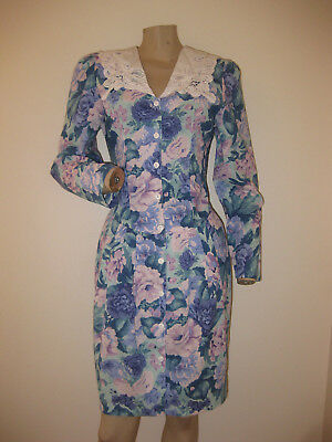 ac1238c36da Vintage 80s Blue Lavender Floral Girly Crochet Puff Sleeve Spring Dress XS S