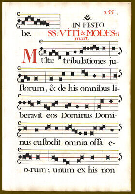 294 Yr Old  Music Leaf Lot (2) German Antiphonal Mass for Martyrs, Saints & Pope