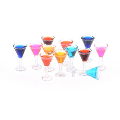 2PCS Dollhouse miniature colorful glass cup goblet bar drinking 1:12 In FD