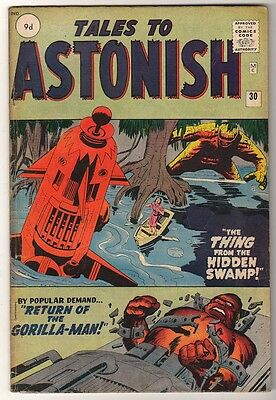 Marvel Comics FN-  #30 TALES TO ASTONISH  1962 GORILLA MAN