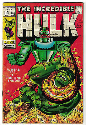 Marvel Comics THE INCREDIBLE HULK Issue 113 Where Fall The Shifting Sands! VG+