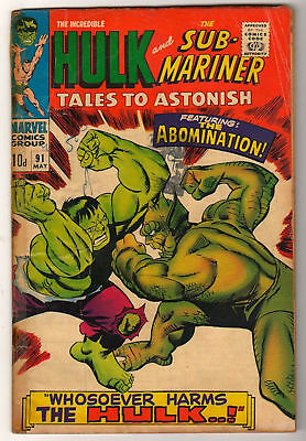 Marvel TALES TO ASTONISH 91  HULK SUB MARINER  1st app of ABOMINATION  VG-