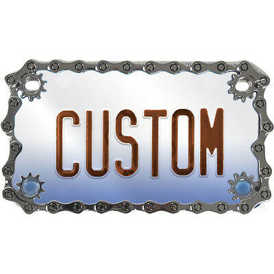 Chrome Metal Chain License Plate Tag Frame for Motorcycle-Bike-Chopper-Scooter