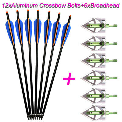 6x100gr Broadheads+12XAluminum Arrow Crossbow Bolts Archery Targeting Hunting US