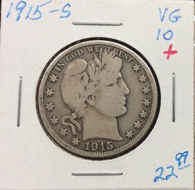 1915-S BARBER SILVER HALF DOLLAR in VG+ Condition